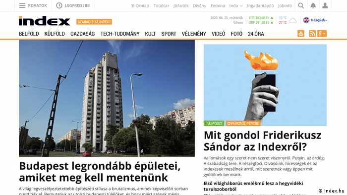 Screenshot index.hu