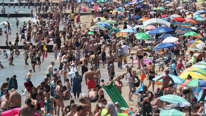 Crowds gather on the beach in Bournemouth as Thursday could be the UK's hottest day of the year