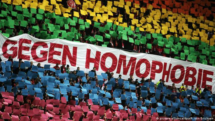 Anti-homophobia activists showing rainbow flag in a football stadium (picture-alliance/dpa/F. von Erichsen)
