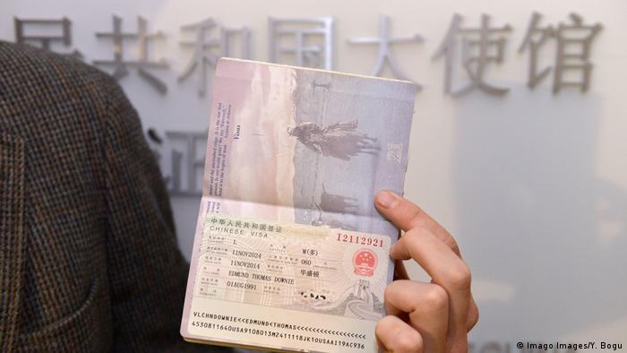 Китайська віза у закордонному паспорті громадянина США