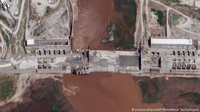 A satellite image of the Grand Ethiopian Renaissance Dam