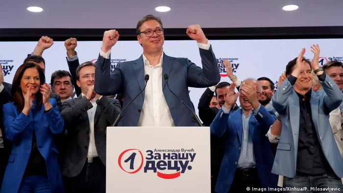 Serbian President Aleksandar Vucic (center of shot) celebrates victory in parliamentary elections after a press conference at the Serbian Progressive Party SNS headquarters in Belgrade, Serbia, on June 21, 2020. (Imago Images/Xinhua/P. Milosavljevic)