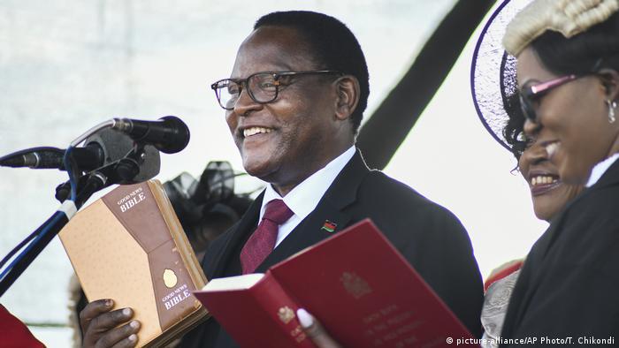 Malawi's newly elected President Lazarus Chakwera takes the oath of office