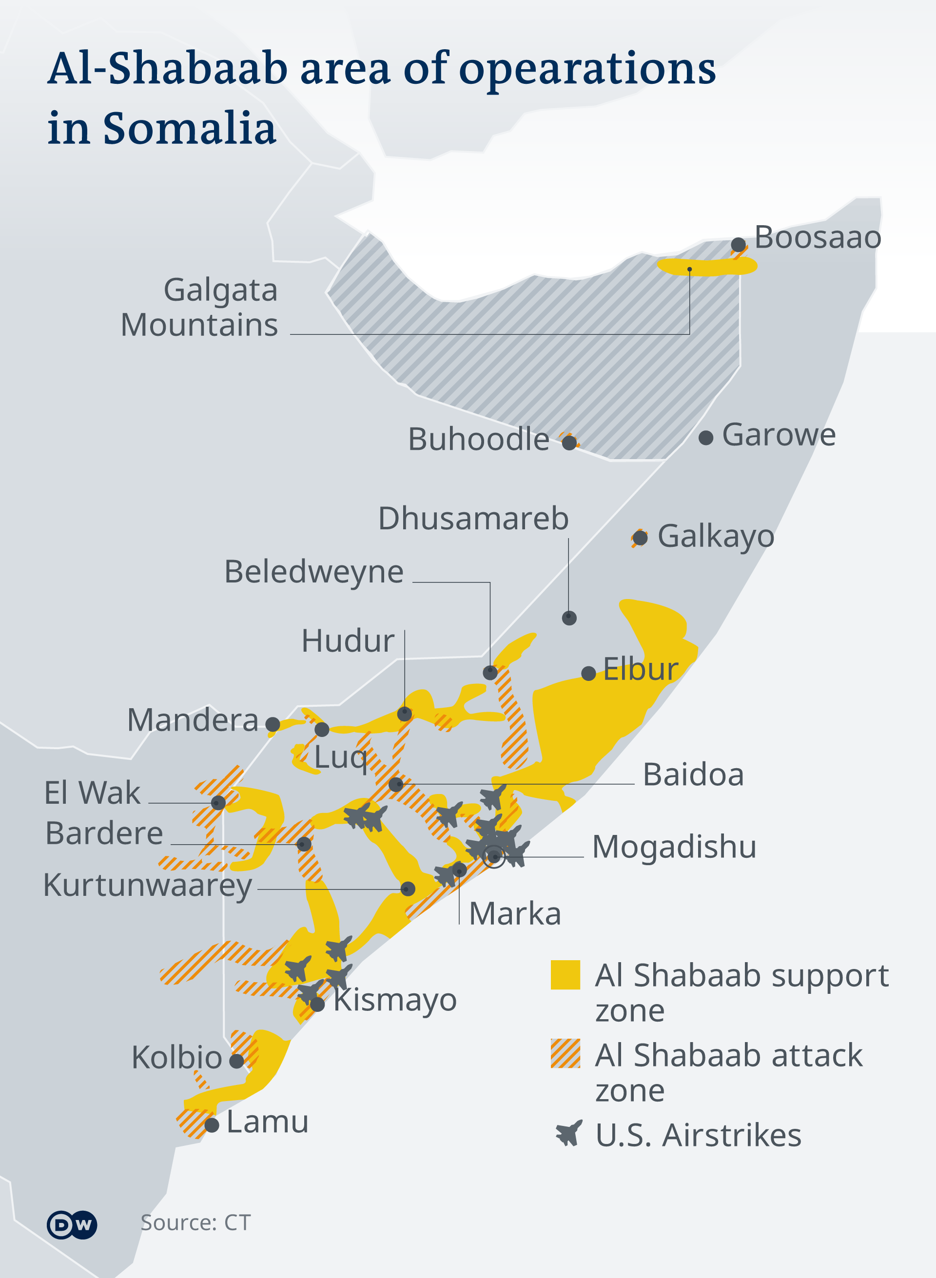 A map showing al-Shabab operations across Somalia EN