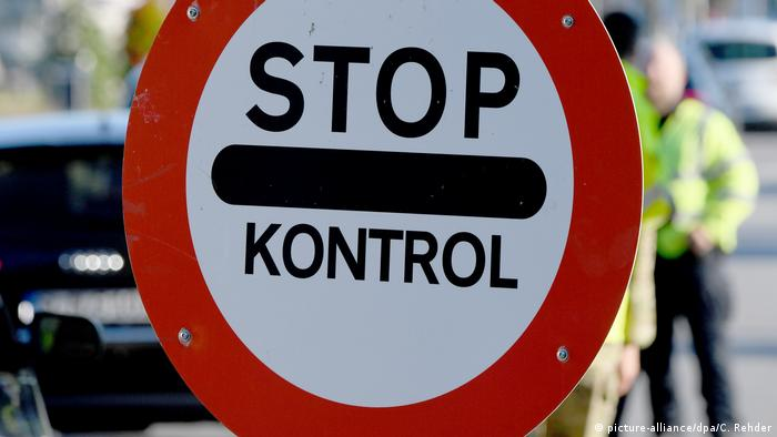 A no entry sign that says Stop - Kontrol at the German-Danish border