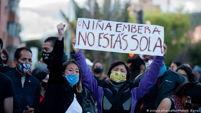 Indigenous women in Colombia protest in front of the military compound after two rape cases involving soldiers