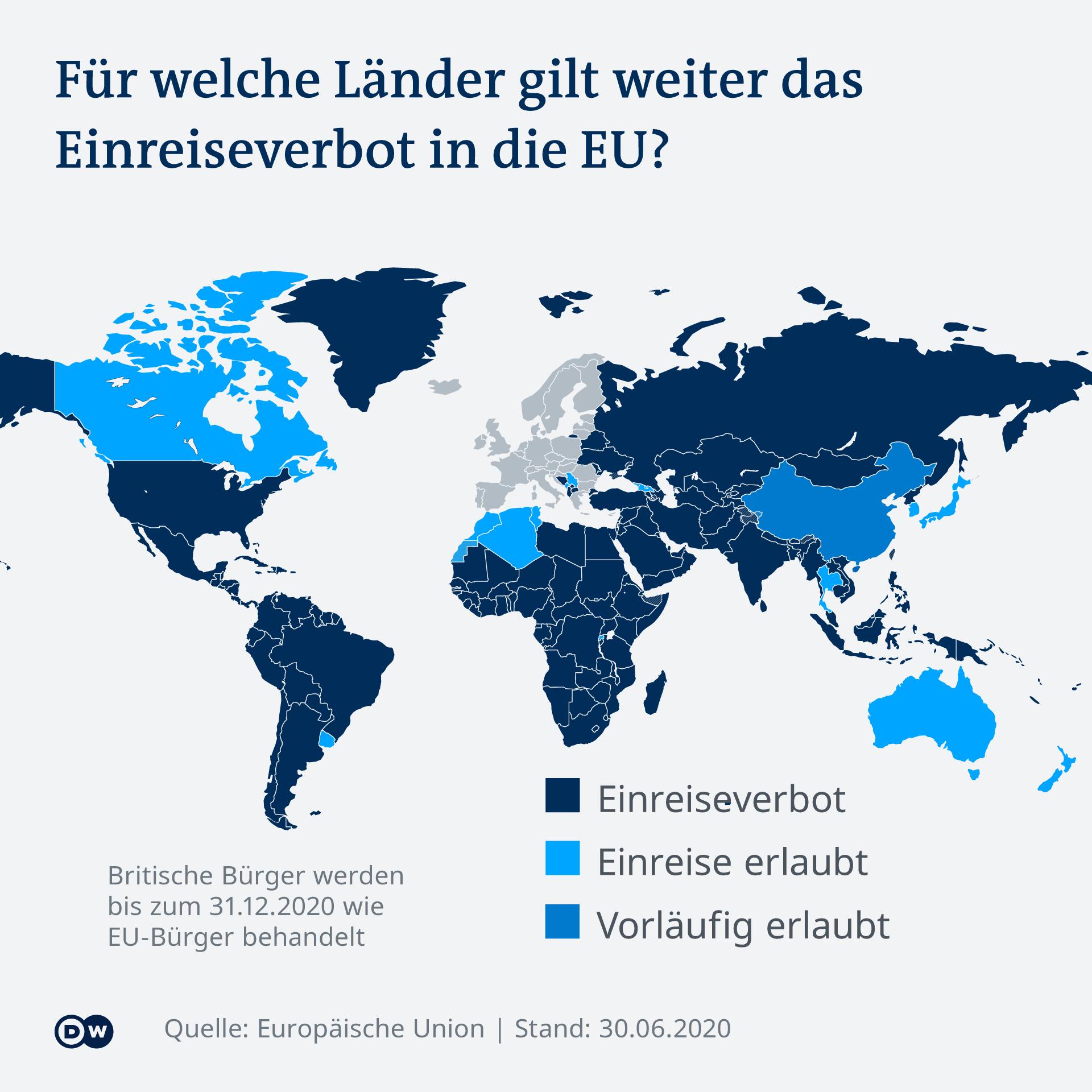 Infografik Für welche Länder gilt weiter das Einreiseverbot in die EU