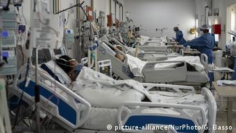 Пациенты с COVID-19 в отделении реанимации в бразильском Сан-Паулу