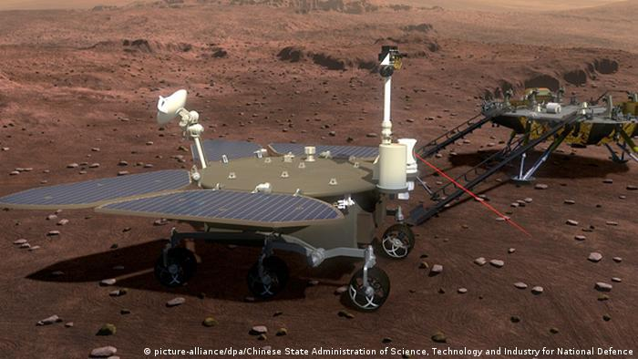 Artist impression of China's Mars lander and rover, Tianwen-1 — a probe will also orbit the planet