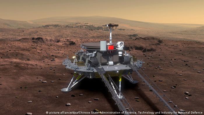 Impresión artística del vehículo de aterrizaje y rover de Marte de China, Tianwen-1