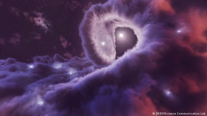 Illustration of the binary star system Eta Carinae