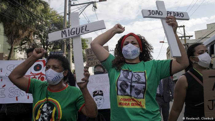 Brasilien Sao Goncalo Demonstration gegen Polizeigewalt und Rassismus