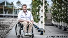 Pascal Hardy, founder and CEO of Nature Urbaine and Agripolis poses on June 15, 2020 at the biggest urban farm in Europe installed on a roof top at the Porte de Versailles exhibition center in Paris. (Photo by STEPHANE DE SAKUTIN / AFP)