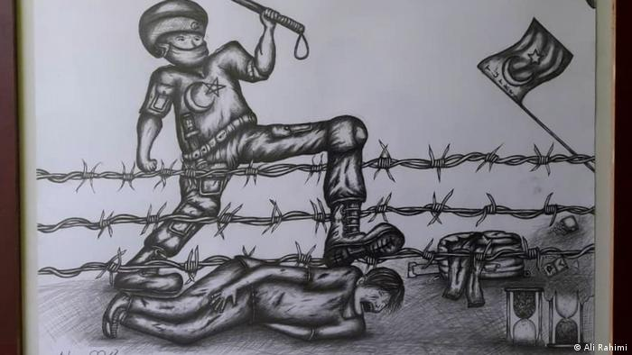 A drawing of a Turkish border guard beating an Afghan refugee.