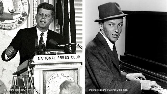 Split photo of JFK speaking at a lectern; Sinatra playing the piano, singing