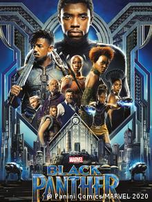 Schauspieler Chadwick Boseman, der den Superhelden Black Panther spielt, ist der Headliner auf diesem Filmplakat zu Black Panther. Vor dem Hintergrund einer futuristischen Stadt sieht man unter ihm weitere Charaktere des Films. (Bild: Panini Comics/MARVEL 2020)