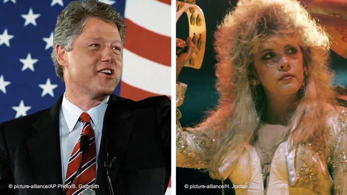 Split photo, Bill Clinton, US flag as backdrop, and Stevie Nicks
