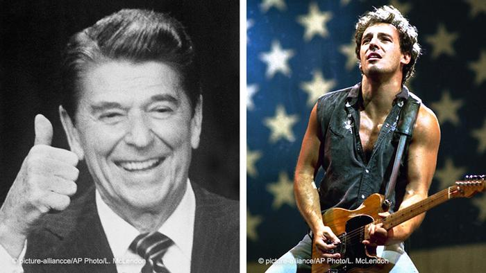 Split photo, Reagan smiling, thumbs up, and Bruce Springsteen playing the guitar