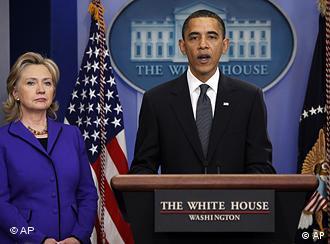 奥巴马和克林顿出席新闻发布会