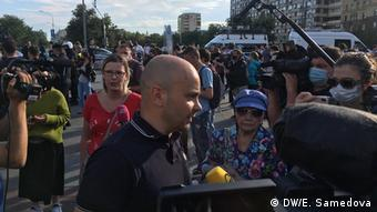 Андрей Пивоваров на акции против поправок к конституции в Москве на Пушкинской площади