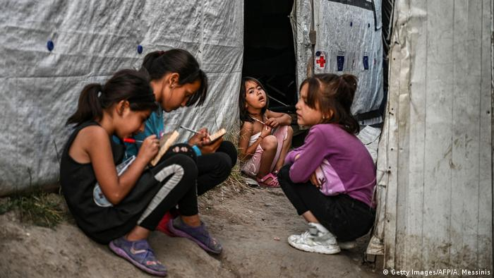 Children in Moria refugee camp