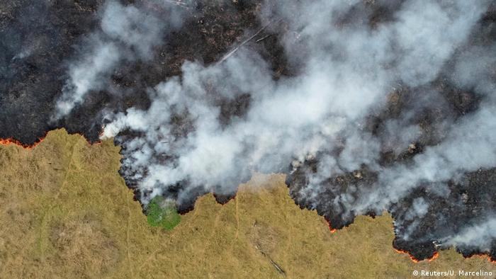 An aerial shot of the Amazon being burned