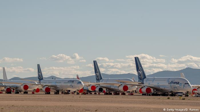 Airbus A380 and A340 passenger aircraft operated by Lufthansa stand parked in a storage facility operated by TARMAC Aerosave at Teruel Airport on May 18, 2020 in Teruel, Spain.