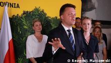 Szymon Hołownia po ogłoszeniu wyników I tury wyborów prezydenckich w Polsce w 2020 roku