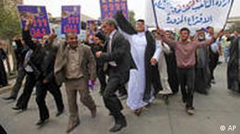 Protestierende Maliki-Anhänger (Foto: AP)