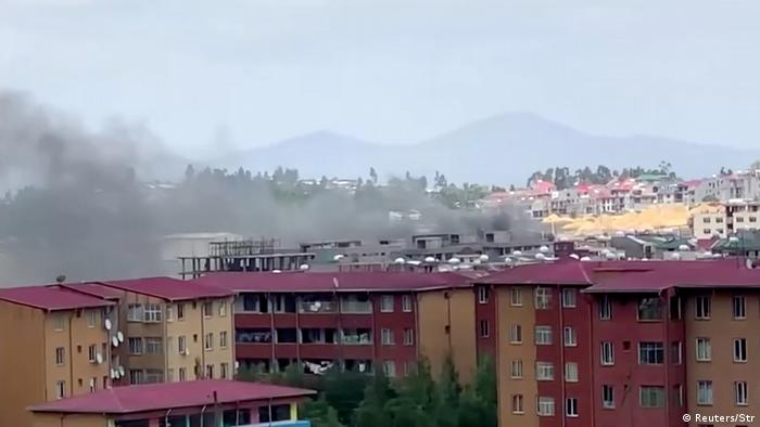 Smoke rises from Addis Abeba in Ethopia a day after singer Hachalu Hundesa's assassination