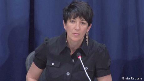 Ghislaine Maxwell speaks at a news conference