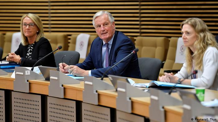 Michel Barnier at the latest round of post-Brexit trade talks with the UK in Brussels