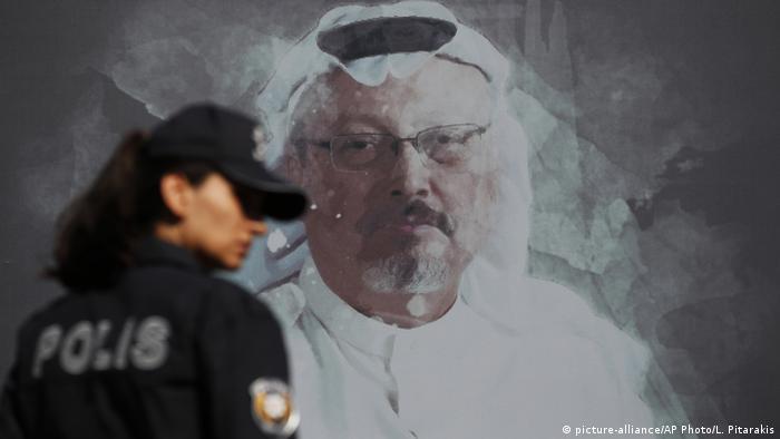 Türkei Jamal Khashoggi Bild Wand (picture-alliance/AP Photo/L. Pitarakis)