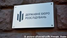State Bureau of Investigation sign on the facade of a building in Kyiv (Photo by Aleksandr Gusev/Pacific Press) | Verwendung weltweit, Keine Weitergabe an Wiederverkäufer.