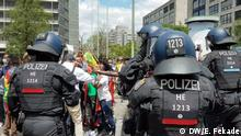 Ethiopians in Frankfurt demonstrate in front of Ethiopian consulate condemning the death of Hachalu Hundessa and the arrest of politicians Frankfurt, Germany 03. 07. 2020 Author- Endalkachew Fekade (DW Correspondent)