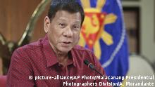 FILE - In this May 28, 2020, file photo provided by the Malacanang Presidential Photographers Division, Philippine President Rodrigo Duterte, talks during his speech at the presidential palace in Manila, Philippines. Duterte on Friday, July 3,2020, has signed a widely opposed anti-terror law which critics fear could be used against human rights defenders. President Rodrigo Duterte signed the Anti-Terrorism Act after weighing the concerns of different groups, his spokesman said. (Ace Morandante/Malacanang Presidential Photographers Division via AP, File) |
