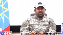 Erhiopian prime minister Abiy Ahmed in military uniform (Ethiopian Broadcasting corporation)