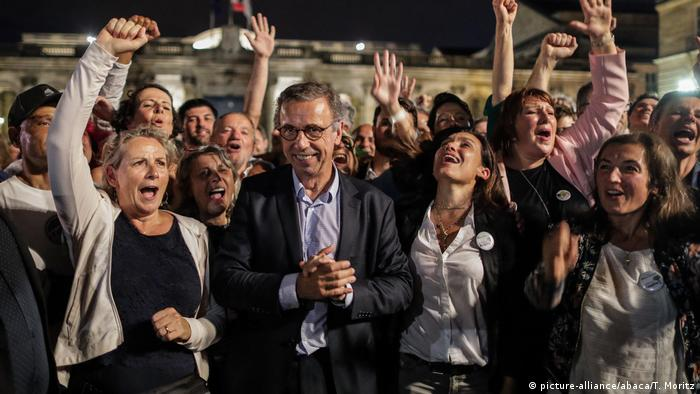 Green party candidate Pierre Hurmic celebrates his victory in Bordeaux mayoral elections with supporters