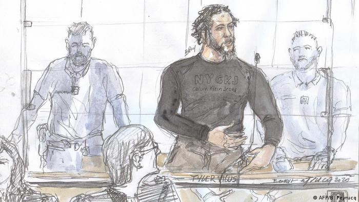 Frankreich, Paris I Gerichtszeichnung I Tyler Vilus (AFP/B. Peyrucq)