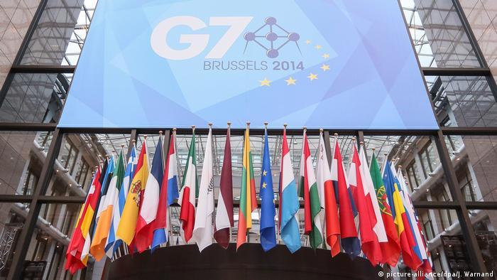 Логотип G7 и флаги участников