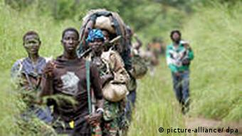 Rebels from the Lord's Resistance Army on their way to southern Sudan