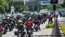 July 4, 2020, MoNchen, Bayern, Deutschland: Motorcyclists with black gear are stuck in traffic.Although the authorities have banned a demonstration planned for this Saturday, thousands of bikers are blocking traffic. An important tunnel had to be temporarily closed. MoNchen Deutschland - ZUMAv143 20200704_znp_v143_017 Copyright: xThomasxVonierx