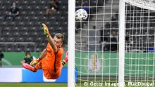 BERLIN, GERMANY - JULY 04: Lukas Hradecky of Leverkusen unsuccessfully dives to save the first goal scored by David Alaba of Bayern during the DFB Cup final match between Bayer 04 Leverkusen and FC Bayern Muenchen at Olympiastadion on July 4, 2020 in Berlin, Germany. (Photo by John MacDougall/Pool via Getty Images)