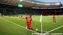 BERLIN, GERMANY - JULY 04: Joshua Kimmich of FC Bayern Muenchen performs a corner kick during the DFB Cup final match between Bayer 04 Leverkusen and FC Bayern Muenchen at Olympiastadion on July 04, 2020 in Berlin, Germany. (Photo by Alexander Hassenstein/Getty Images)