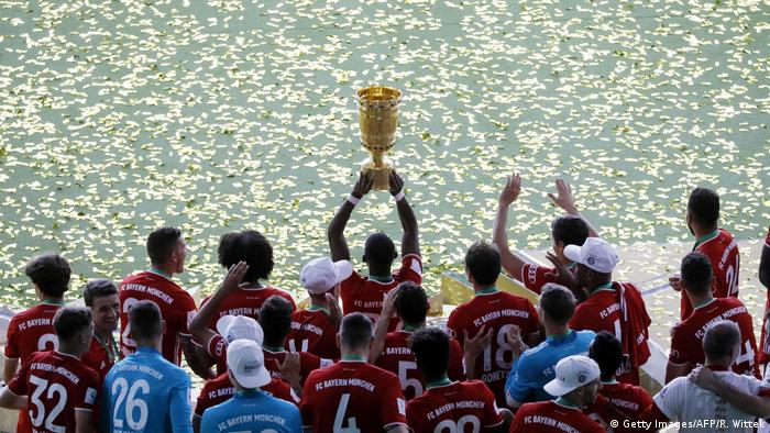 Bayern players lift the German Cup