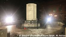 USA Baltimore Columbus Statue zerstört und in Hafen geworfen