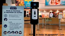 17.06.2020 A dispenser of hydroalcoholic hand sanitizer gel is placed inside a movie theatre in Paris on June 17, 2020, few days before all the movies and theatres will be allowed to re-open, as France eases lockdown measures taken to curb the spread of the Covid-19 pandemic (novel coronavirus). (Photo by THOMAS COEX / AFP) (Photo by THOMAS COEX/AFP via Getty Images)