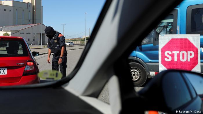 A police road block in Spain