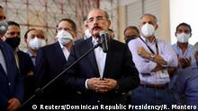 Dominican Republic's President Danilo Medina addresses the media after casting his vote in the general election during the coronavirus disease (COVID-19) outbreak in Santo Domingo, Dominican Republic July 5, 2020. Romelio Montero/Dominican Republic Presidency/Handout via REUTERS THIS IMAGE HAS BEEN SUPPLIED BY A THIRD PARTY. NO RESALES. NO ARCHIVES