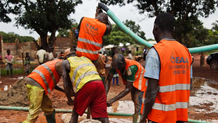 A crew comprising former child soldiers and street kids from the Central African Republic (CAR) dig a well for an impoverished suburb cut off from mains water supplies in the capital, Bangui (Jack Losh)